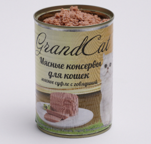 Мясные консервы для кошек  Grand Cat (мясное суфле с говядиной)