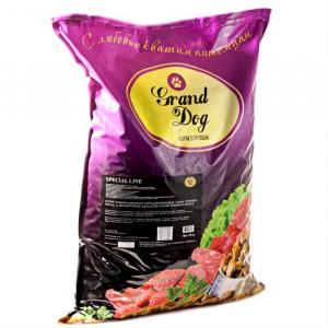 Корм для собак Grand Dog Сухой полнорационный корм для взрослых собак крупных пород с пробиотиком Basulifor-A супер премиум класса.