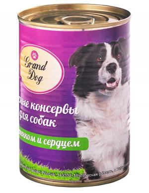 Корм для собак Grand Dog Мясные консервы для собак (ягненок,сердце)